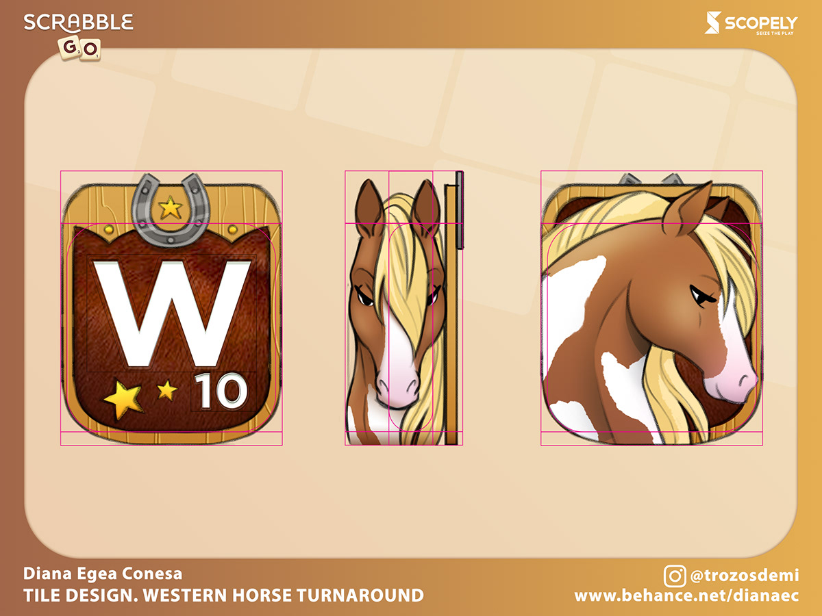 concept cowgirl horse live ops mobile games Scrabble tile western Wordgame cartoon