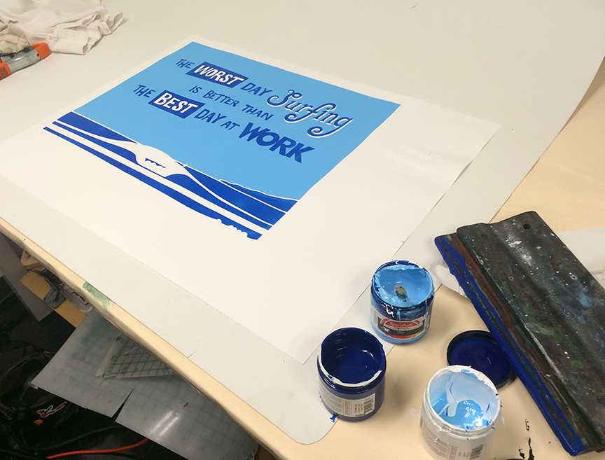 posters customtype surfing Quotes Surf oceanbeach screen-printing