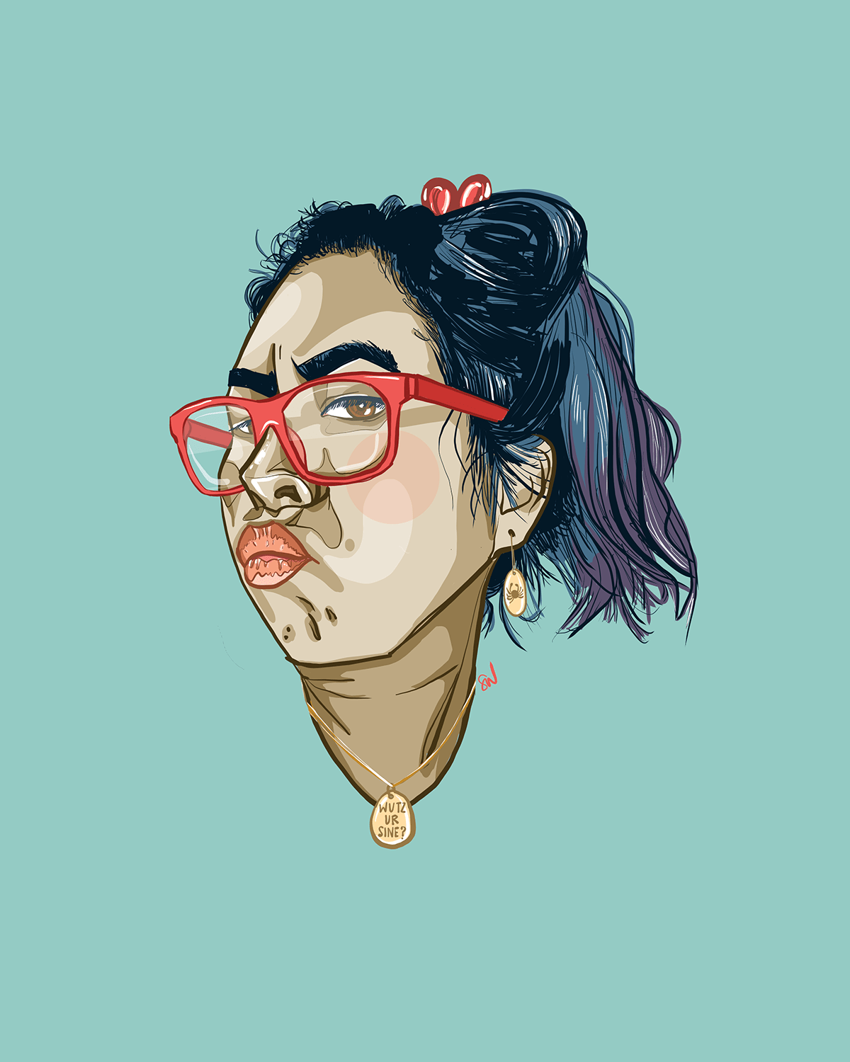Woman in red glasses with a whatever/who cares/ef u expression