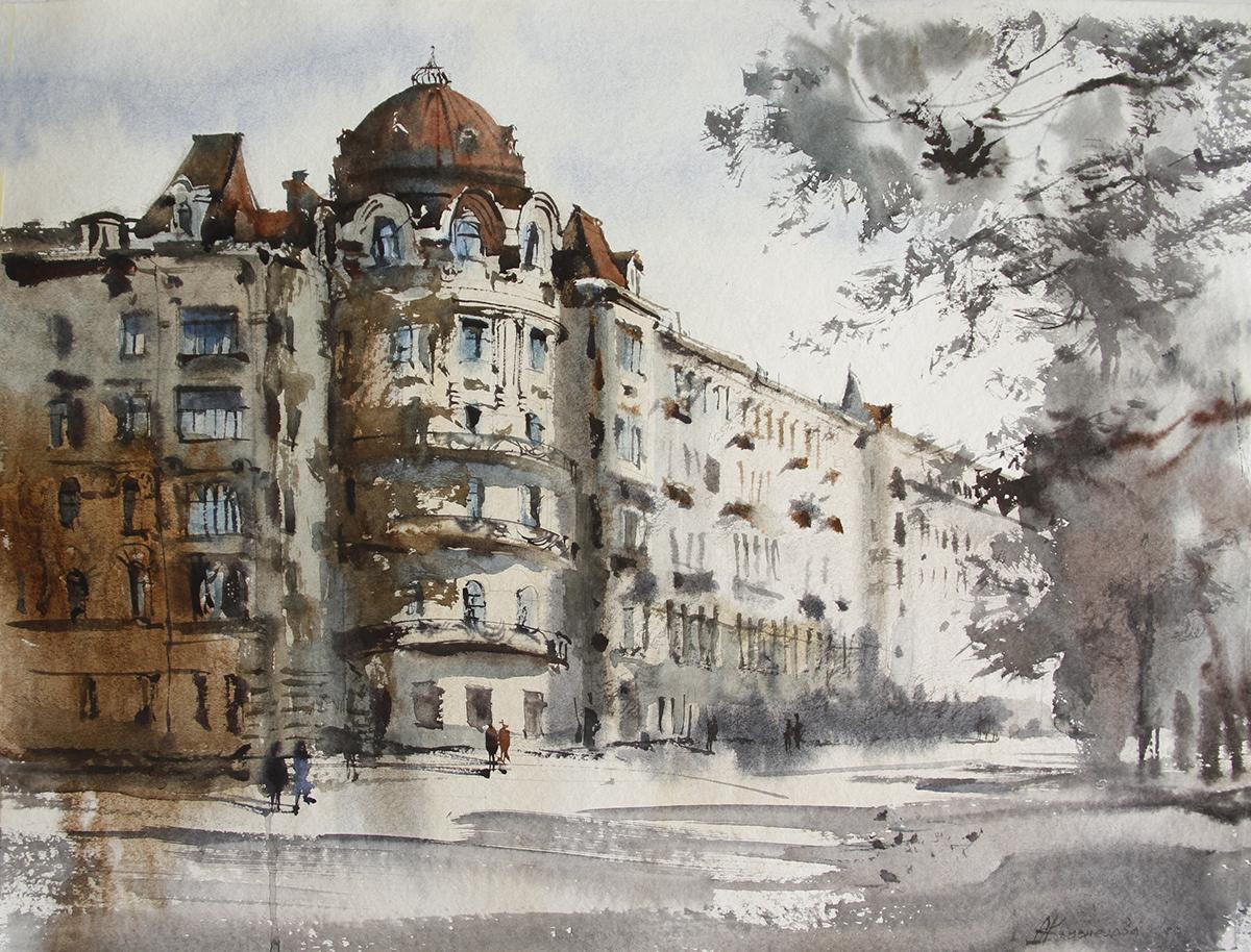 architecture artist ILLUSTRATION  monochrome watercolor акварель архитектура графика питер