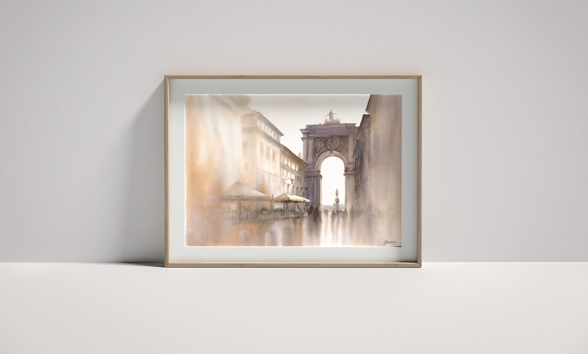 city Drawing  Landscape painting   watercolor watercolour