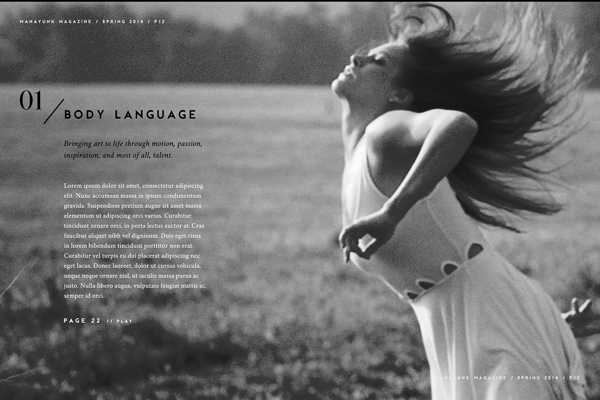 magazine Manayunk editorial dancer elegant print town district city philadelphia ballet modern dance