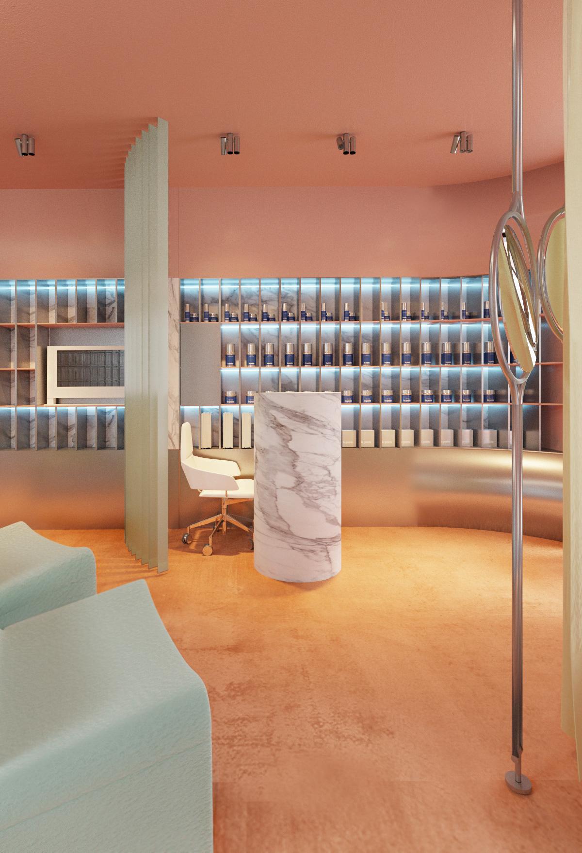concept interior design  beauty visualisation blush yellow
