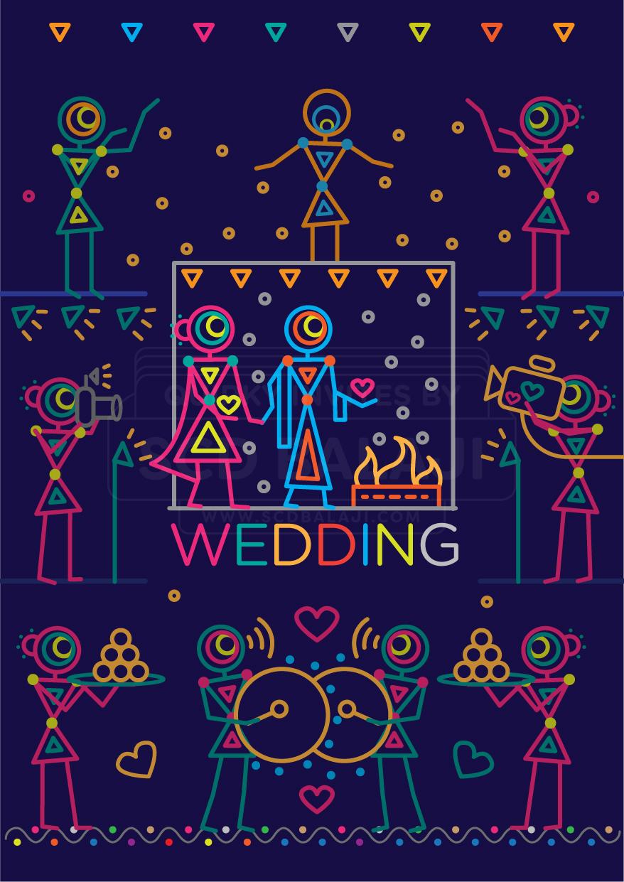 Indian Wedding Invitation Suite in Urban Warli Folk Art on ...