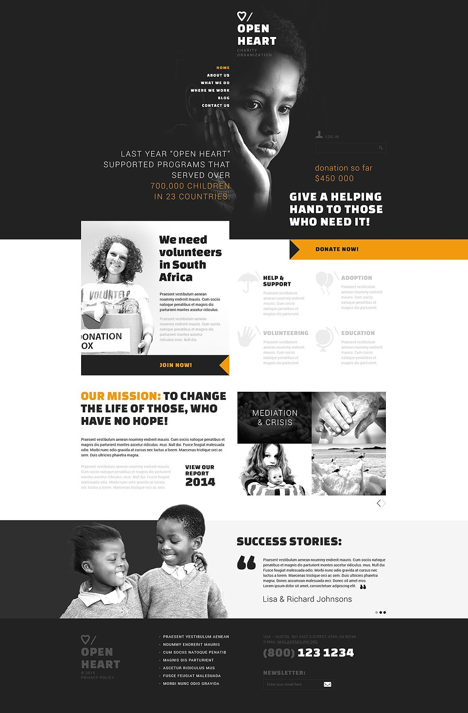 Charity Website Template on Behance