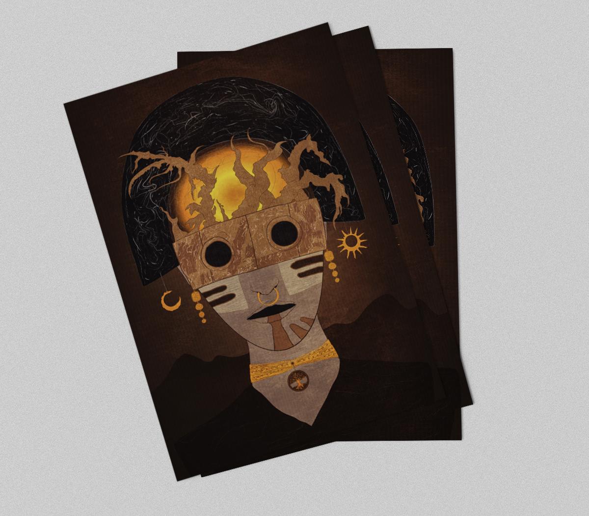 shaman spirit adept Sun moon crescent Nature God brown Mystic gold Ancient priest portrait