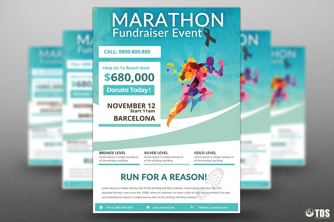 marathon fundraiser event free psd flyer on behance. Black Bedroom Furniture Sets. Home Design Ideas