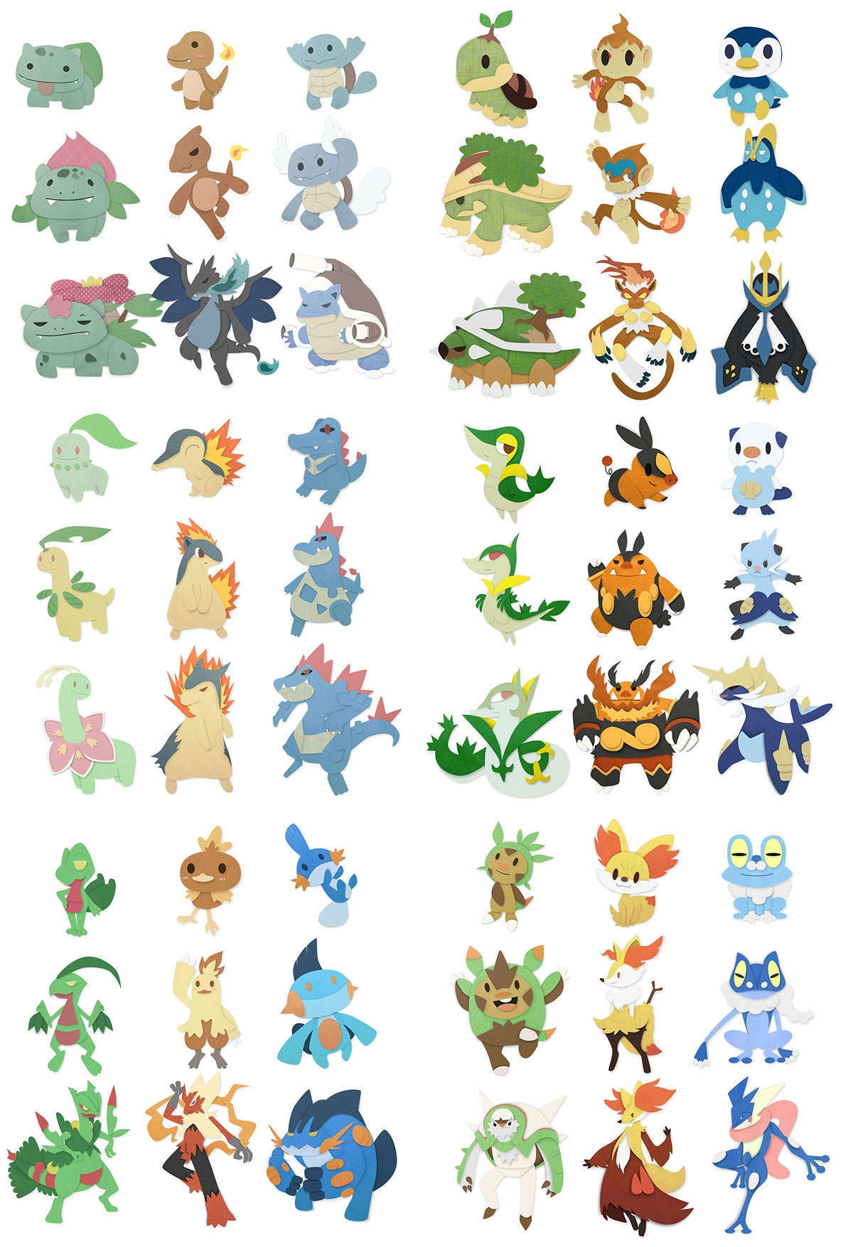6 generations of pokémon starters on behance