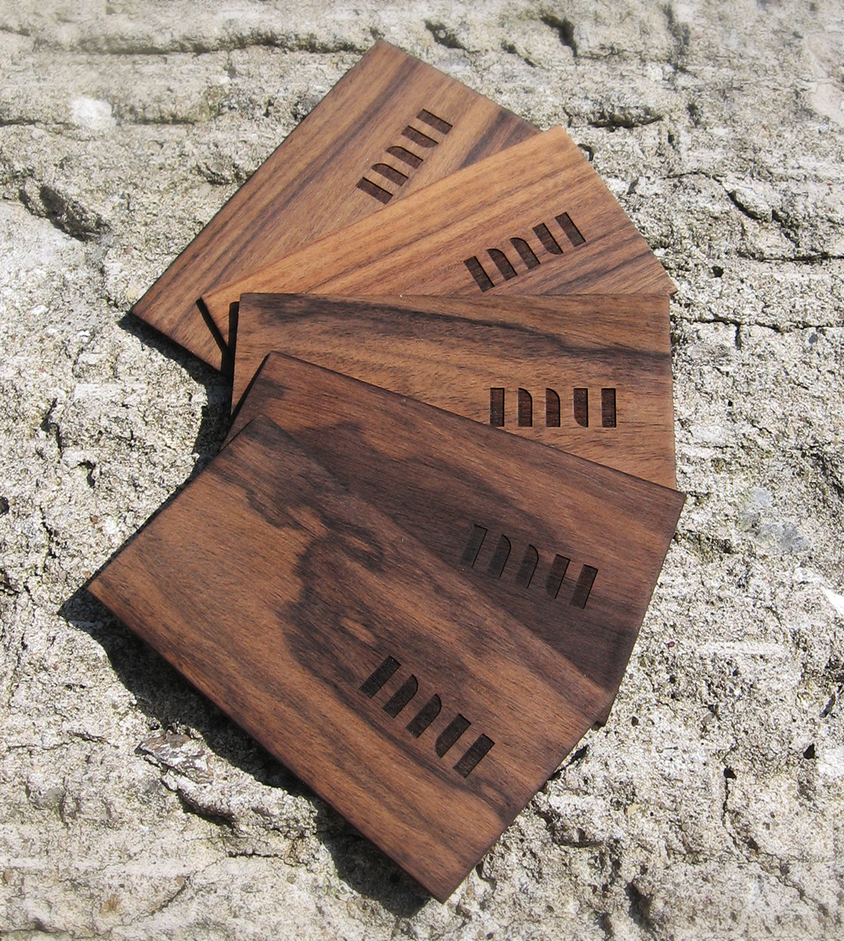 wood card cards business natural logo engraving laser plywood veneer brand identity personal stone