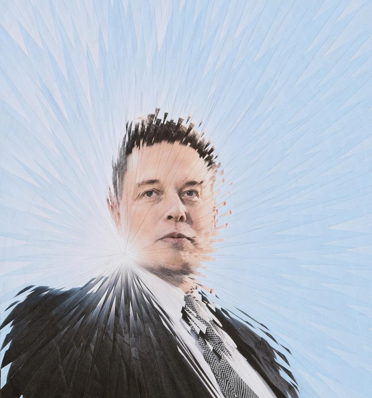 Elon Musk collage portrait paper collage paper art