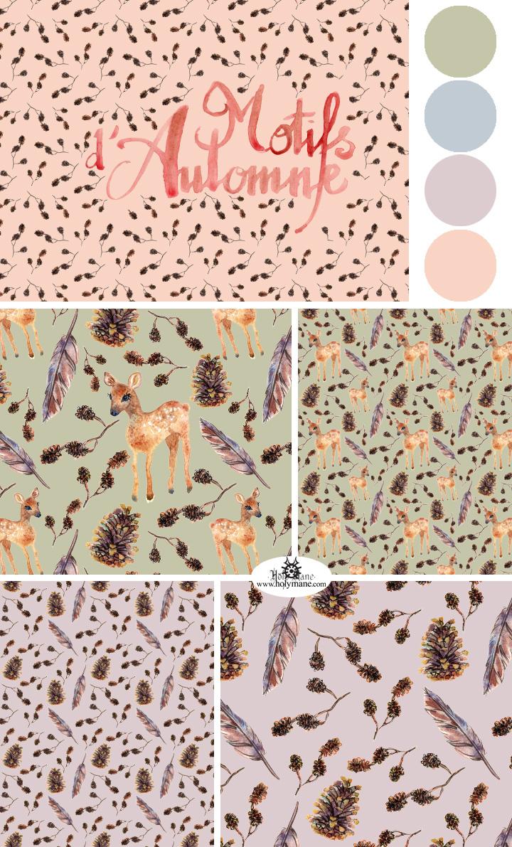 children surface pattern design automne Fall Nature decoration fashion design watercolor