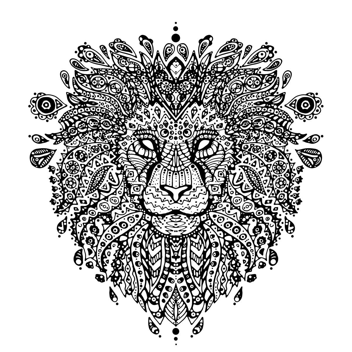 Lion mandala on behance - Coloriage a imprimer mandala ...