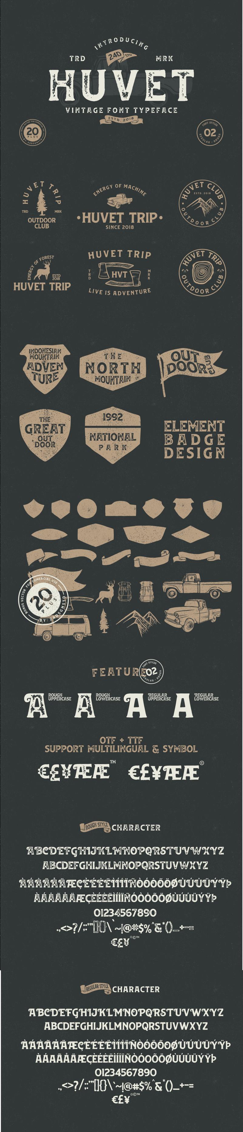 Free huvet vintage font on behance