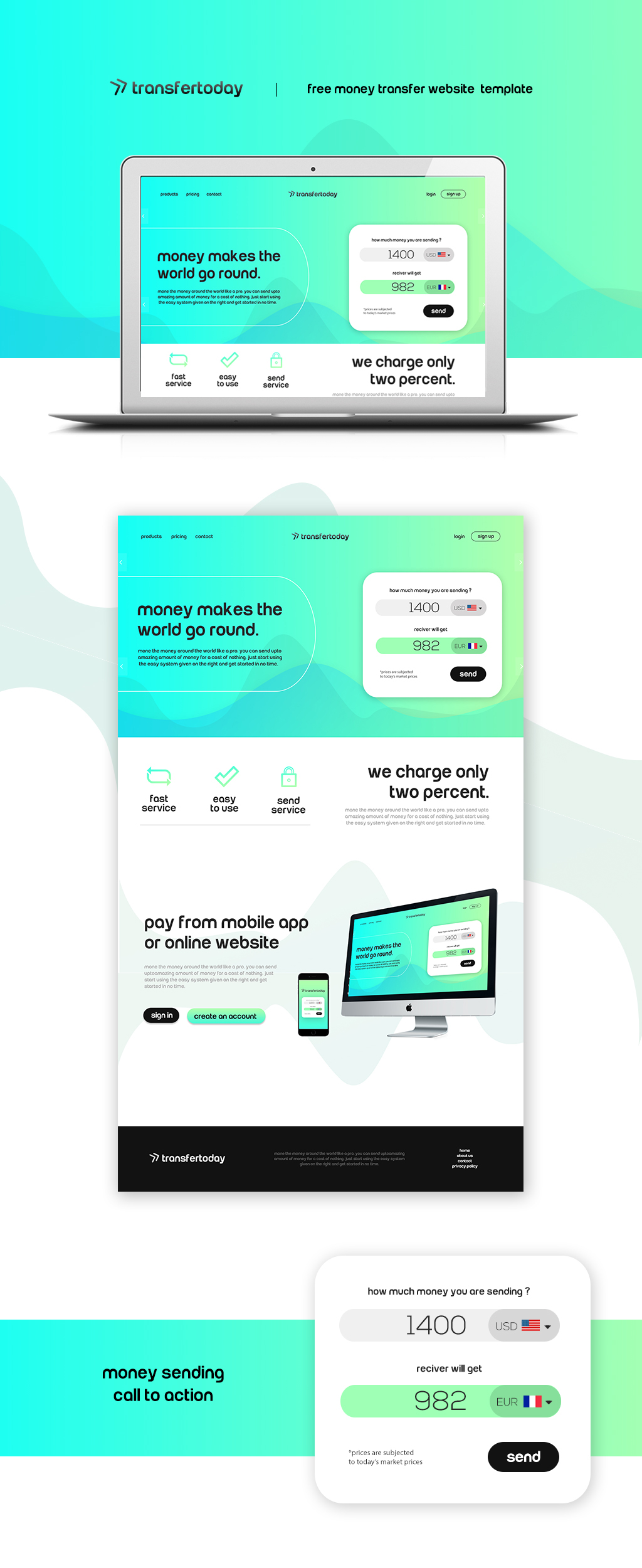 free psd money transfer website template on behance