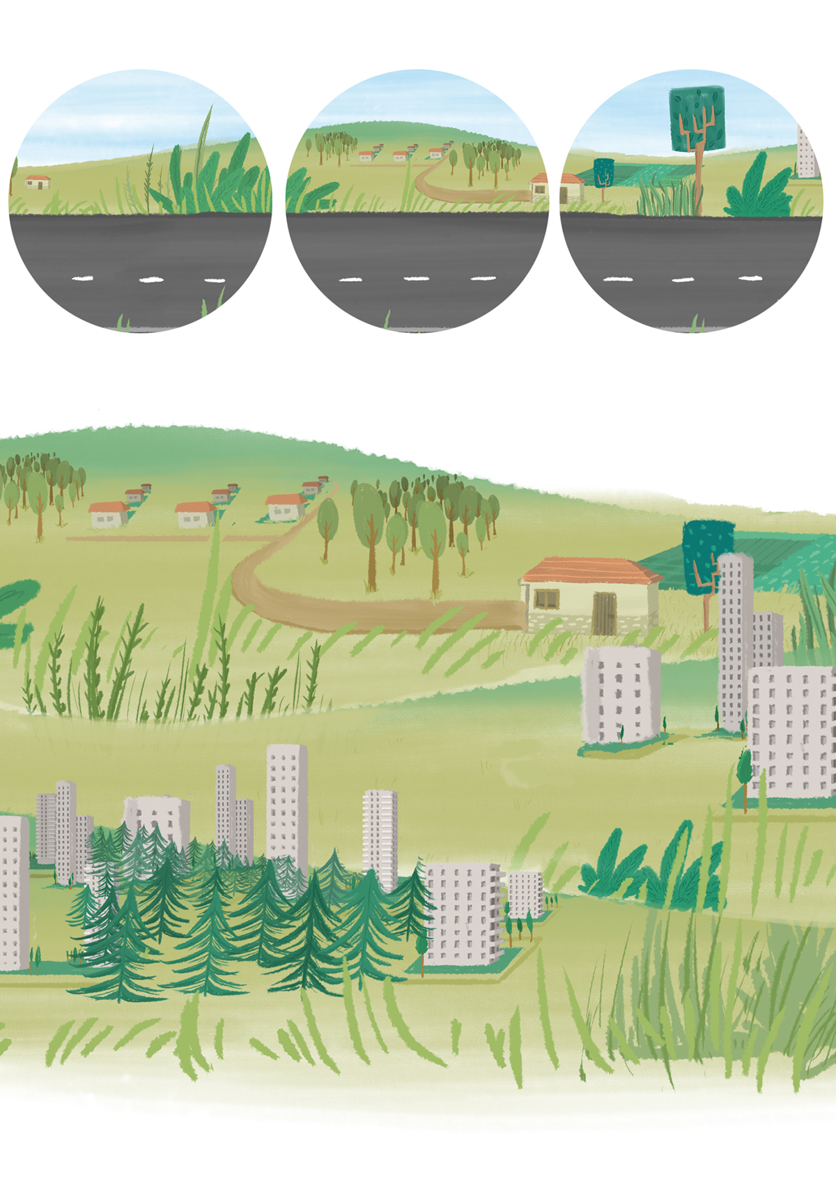 Bridgestone wheel fuel Landscape Truck trailer motion 2D Animation