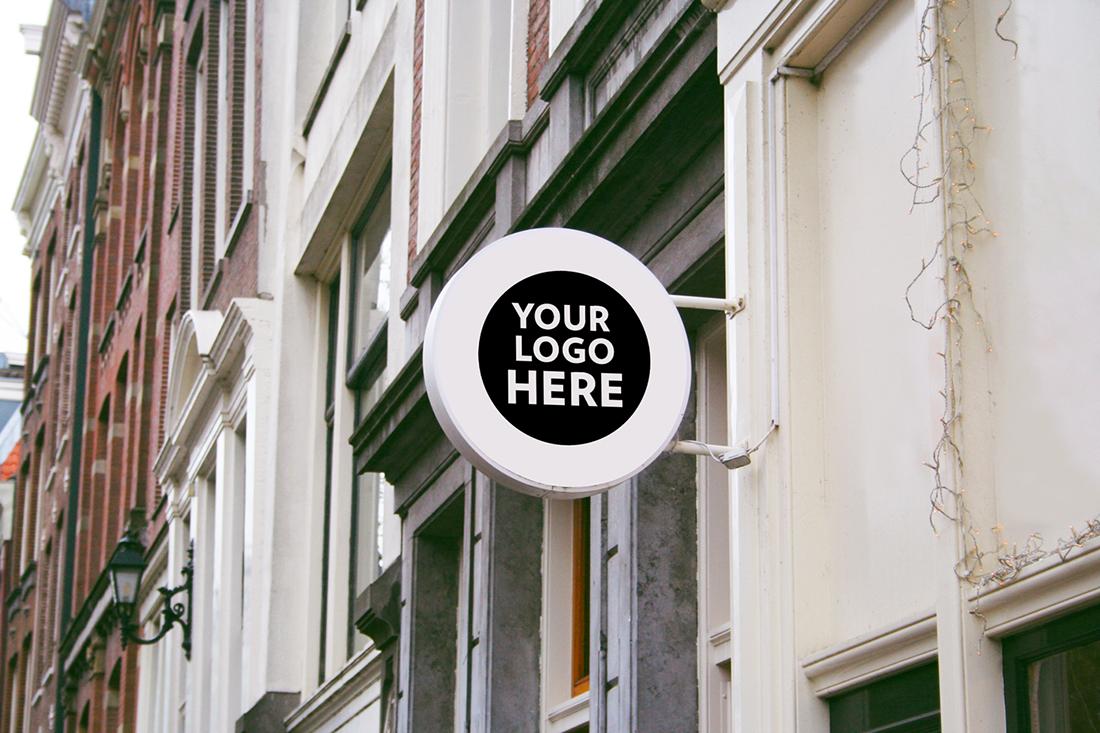 logo branding  free Mockup freebie sign shop restaurant cafe Office