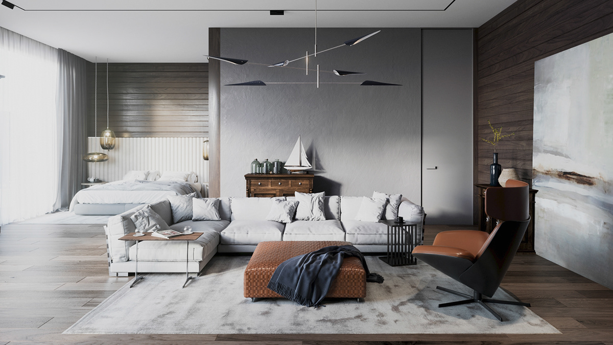 The interior of the private house in Sochi on Behance