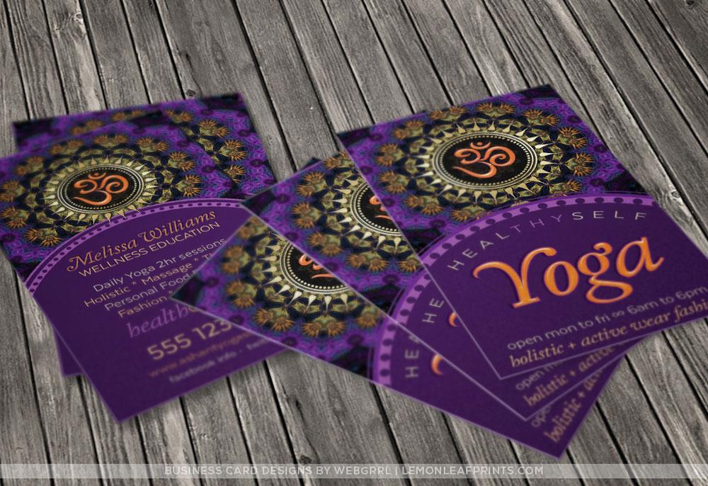 Om yoga new age business cards on behance om new age business cards purple gold fractals colourmoves