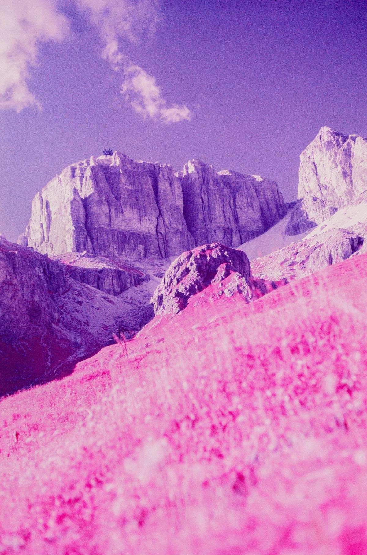 Dolomiti infrared Aerochrome dolomites mountains Landscape analog Film   35mm dolomitesininfrared