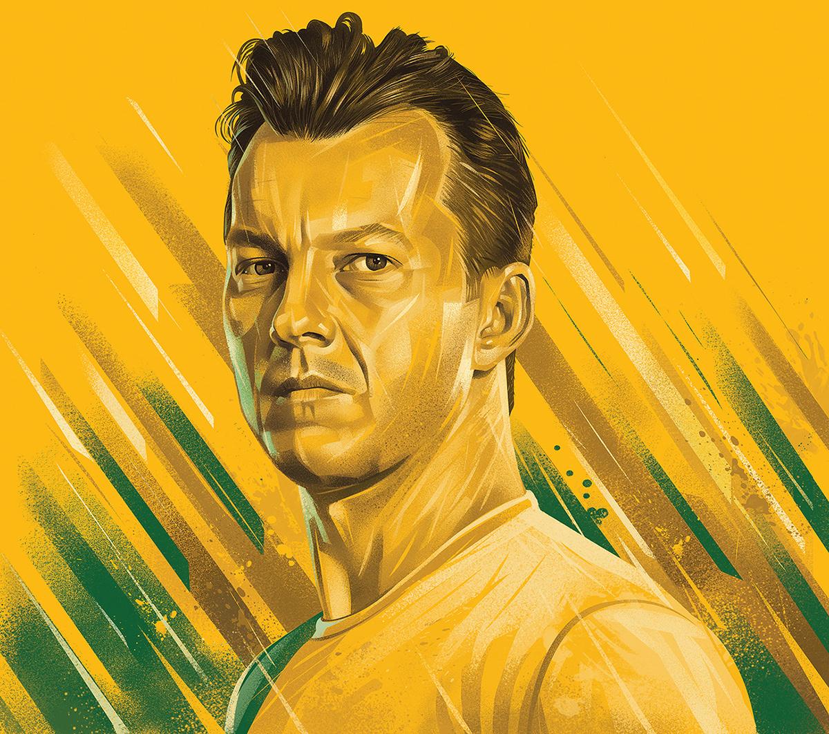 Advertising  art Cricket digitalart Drawing  ILLUSTRATION  players portrait portrait sport illustration