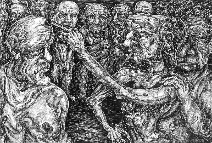 ink artwork invasion Emotional psychology philosophy  grotesque surrealism ILLUSTRATION  attitude