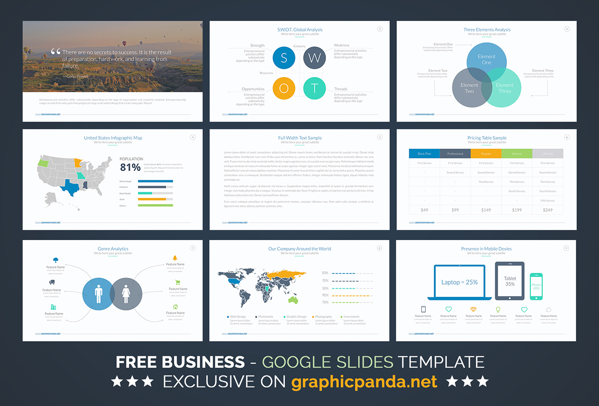 free business plan google slides template on behance, Presentation templates