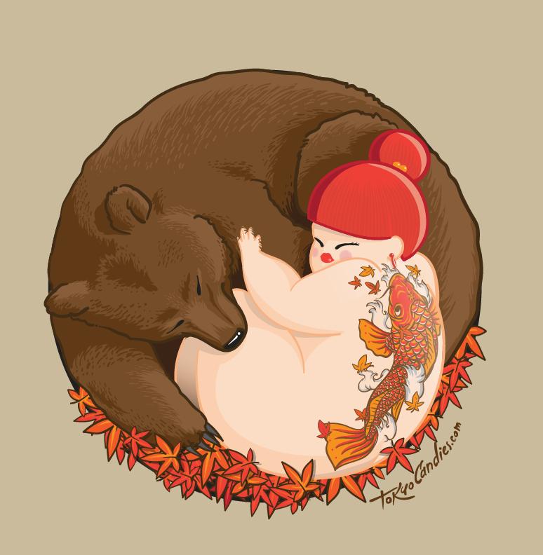 autumn,leaf,orange,bear,sleep,chubby girl,tattoo,koi,horimono,irezumi,japanese,japan,kawaii,cute,Love