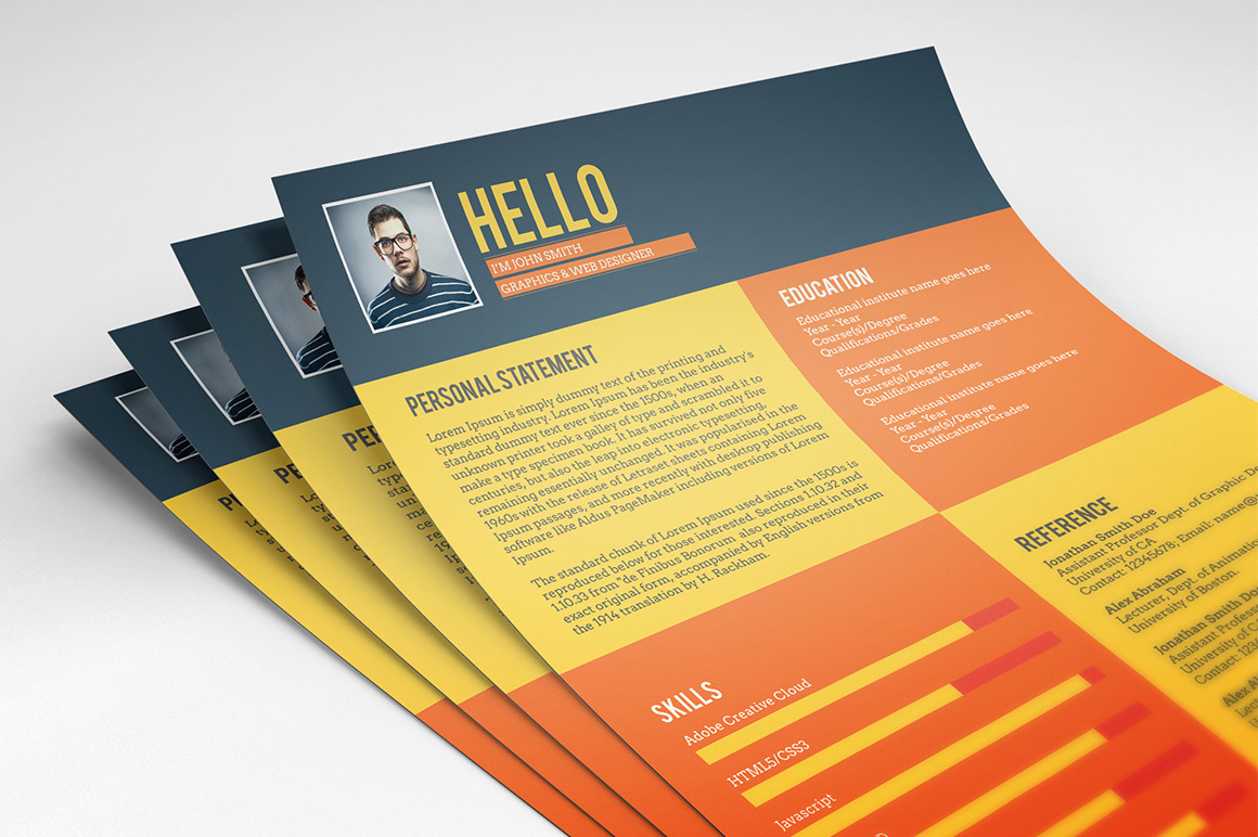 Flat Style Resume Template Freebie On Behance