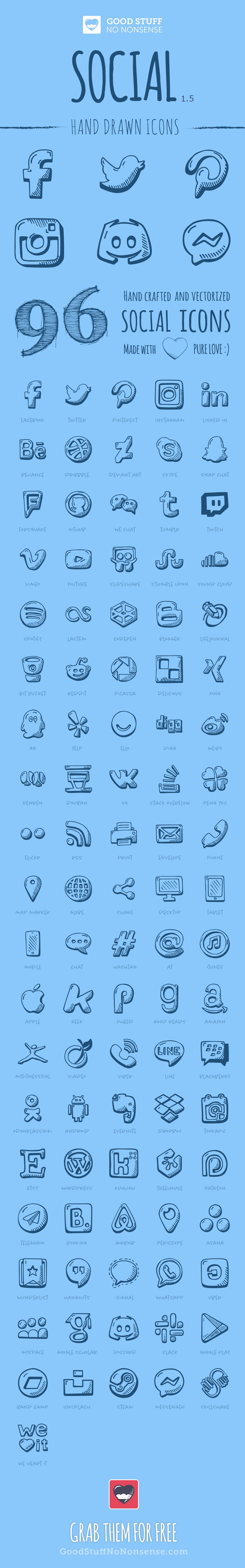 Icon icons free freebie social icons social media hand drawn sketch outline