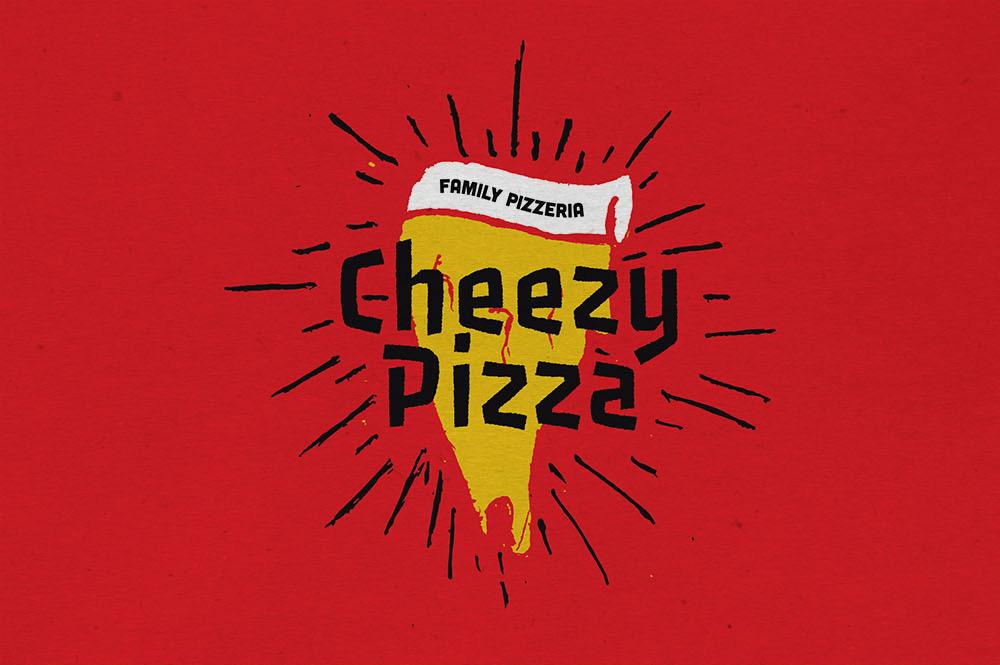 food branding pizza branding handdrawn restaurant shop pizzeria Italian food pizza logo