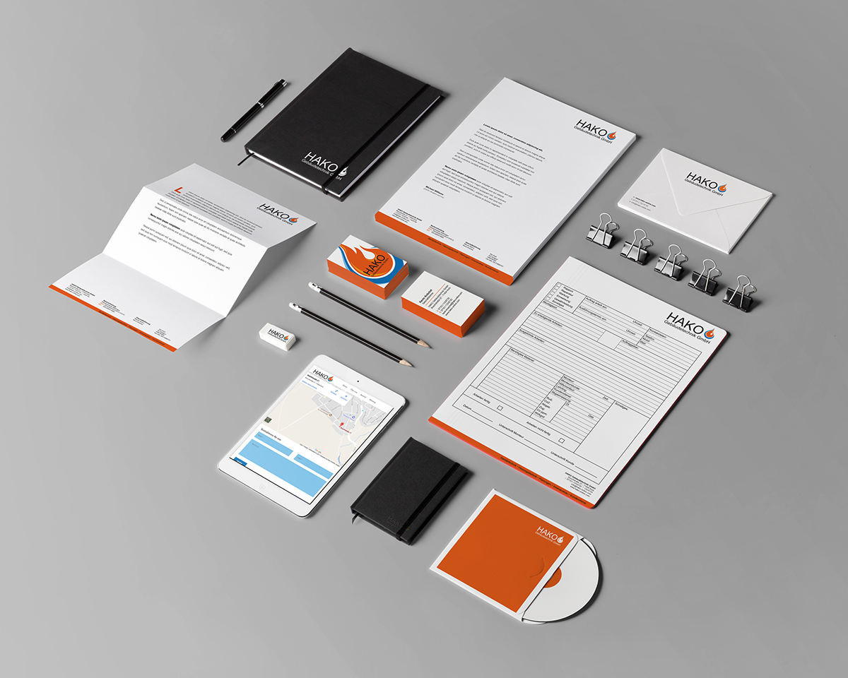 Stationery Corporate Design branddesign typografie designer redesign blue orange Flames