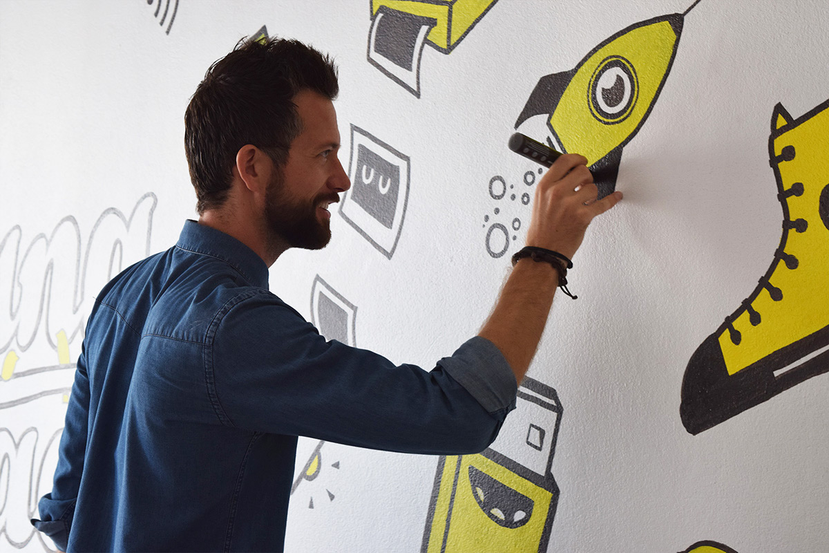 Mural wall painting icons doodles