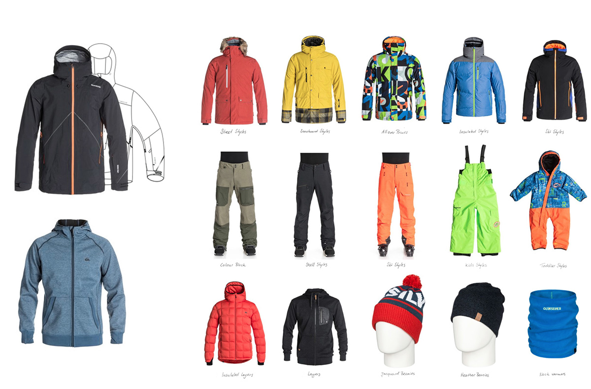 Outerwear Sports apparel performance textiles fabric Quiksilver layers beanies accessories TECH PACKS insulation Snowboarding skiing mountain snow