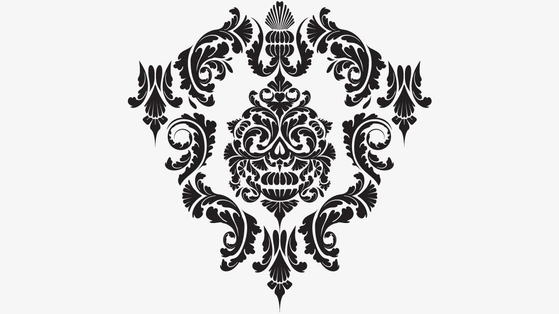 punk rock damask skull pattern ILLUSTRATION  ornate