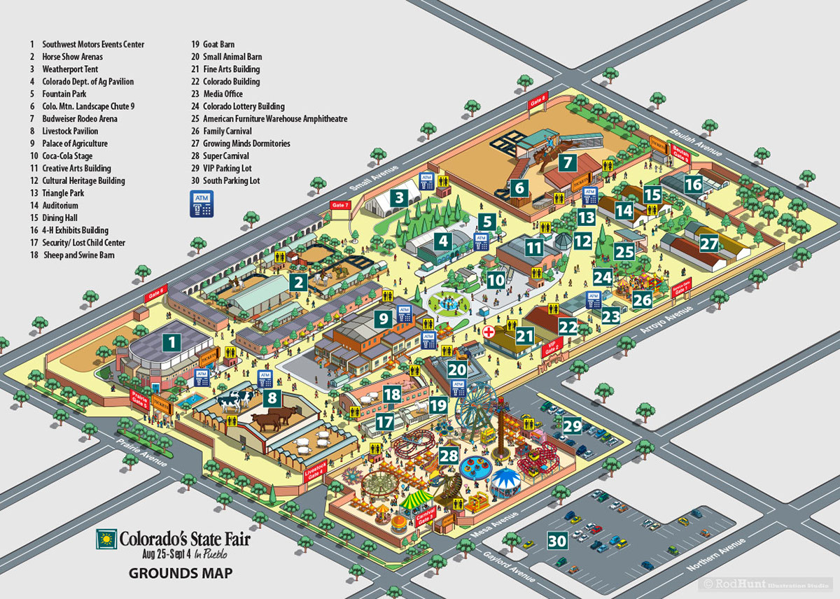Colorado 39 s state fair map illustration on behance for Colorado plan