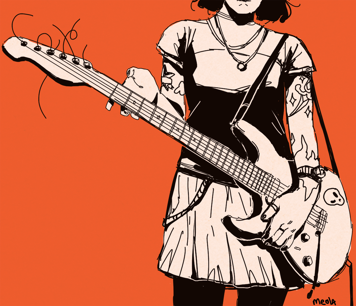 black cool digital Drawing  girl guitar orange punk Rock And Roll sketch
