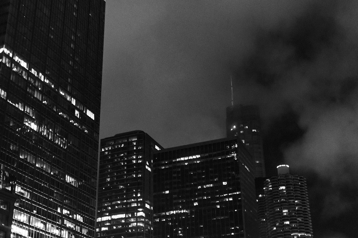 black and white Photography  city architecture abstract night