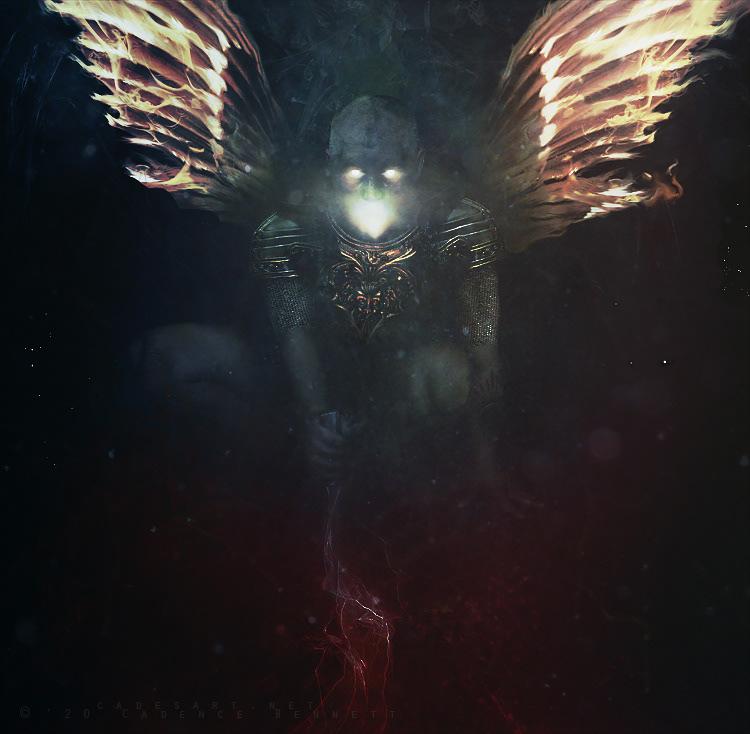 Armour atmosphere dark dark illustration darksurrealism fire surrealism warrior wings Wings of fire