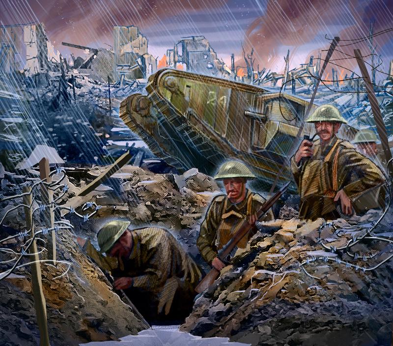battle Digital Art  Drawing  history ILLUSTRATION  Military War ww1