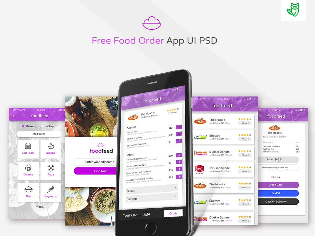 Free PSD : Food Delivery App on Behance