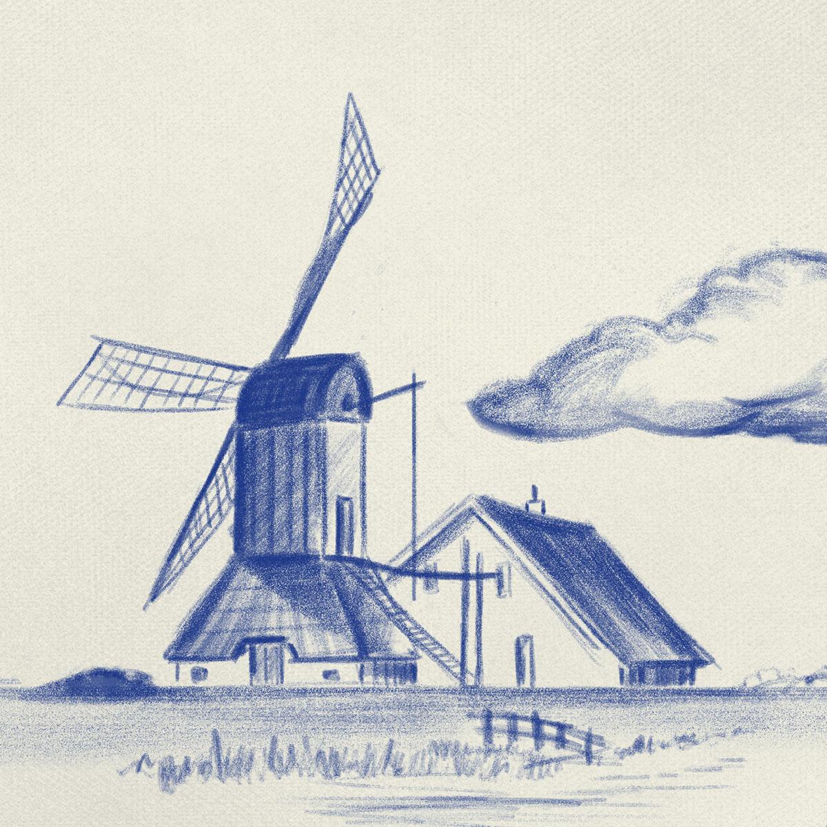 Modern Times delftware delft Delftsblauw tile windmill