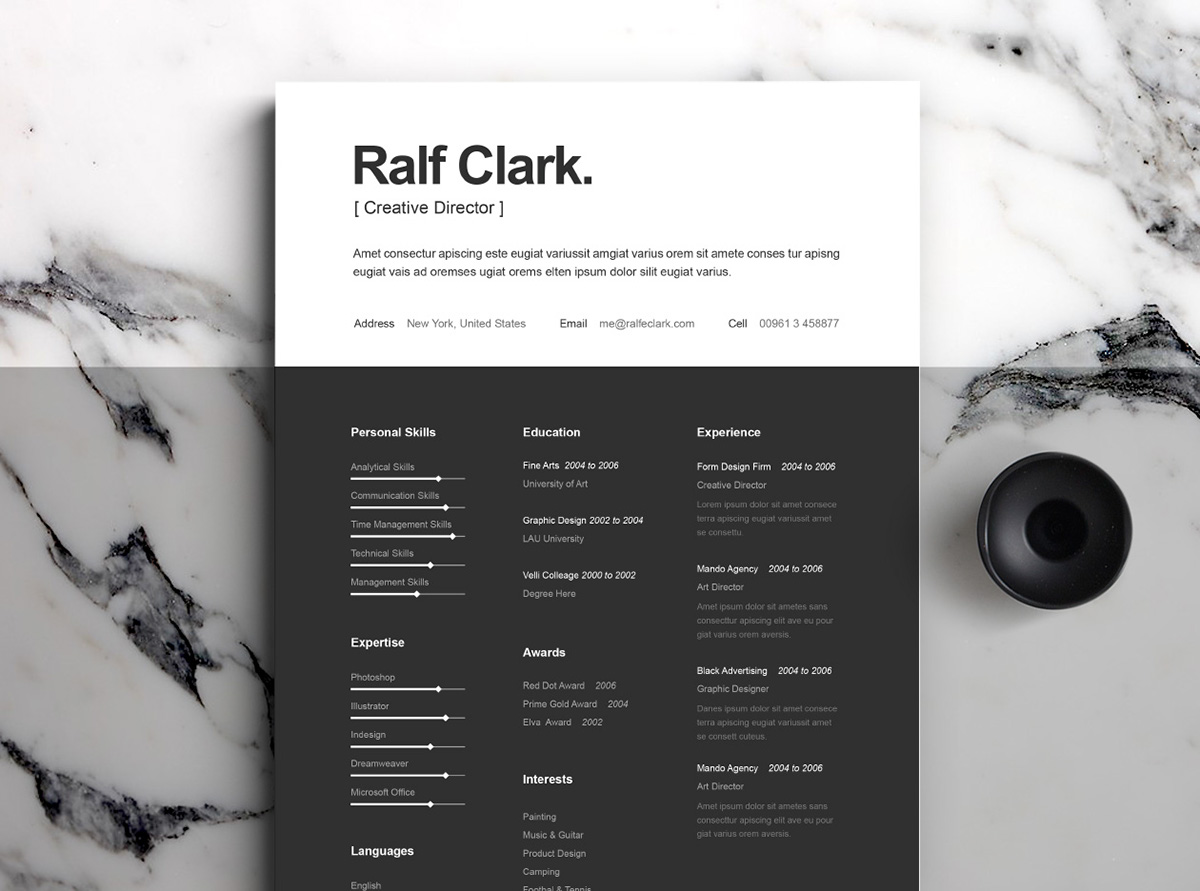 Best Free Resume Templates On Behance