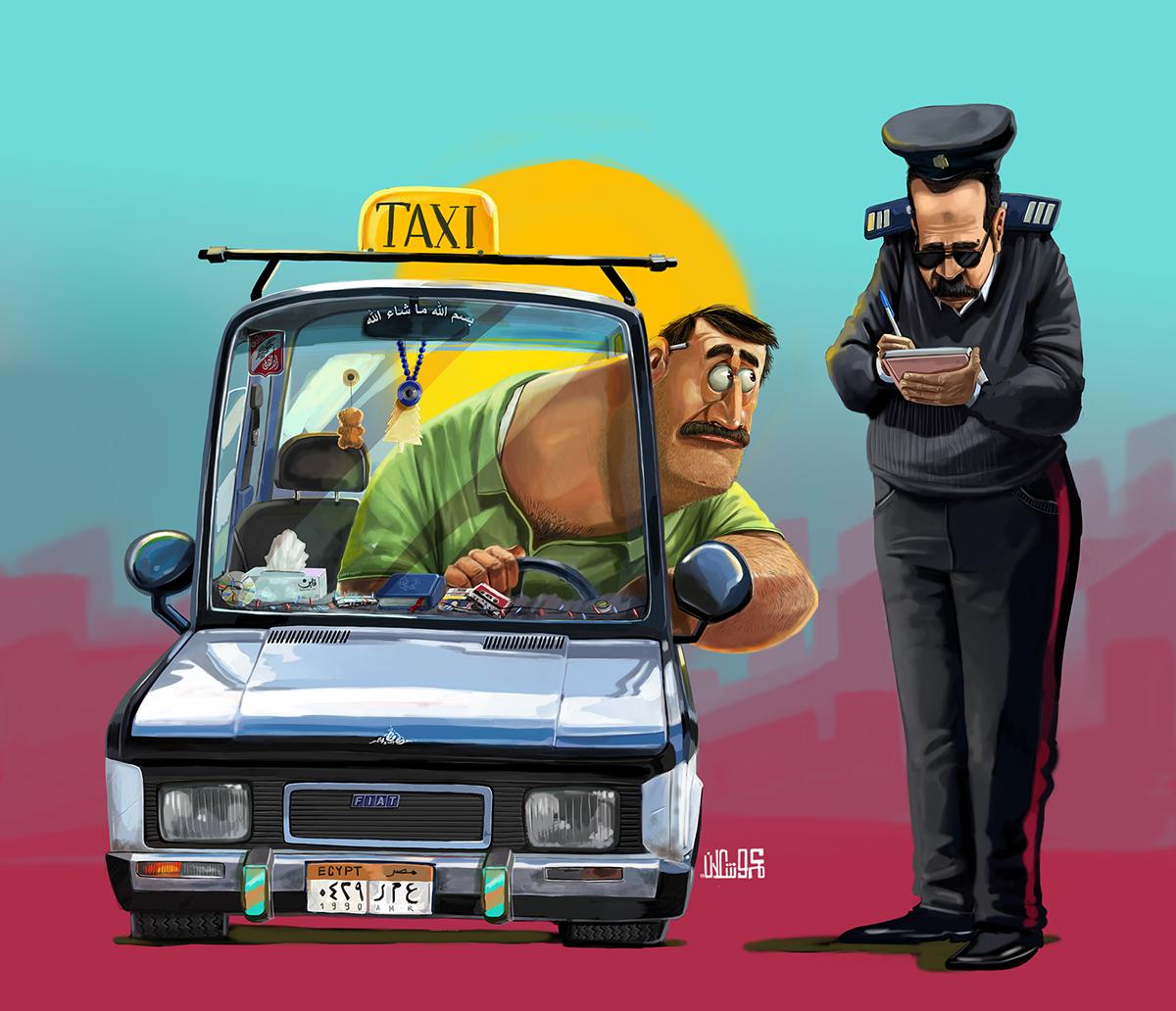 taxi police egypt fiat