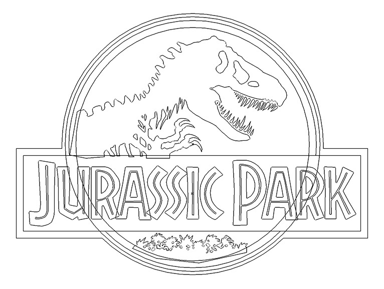 Jurassic World Coloring Pages Pdf : Jurassic park outline clipart library