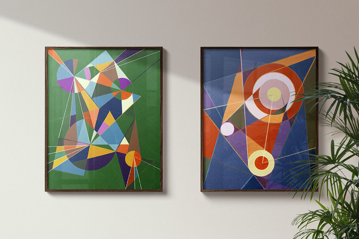Wassily Kandinsky inspired artworks. Public main area. Le Grand Quartier - Saint Martin