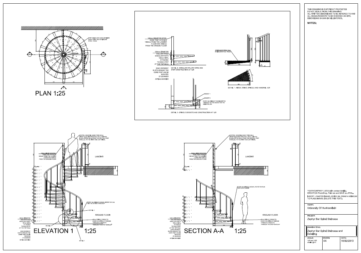 Spiral Staircase Detail Drawings - AutoCAD on Behance