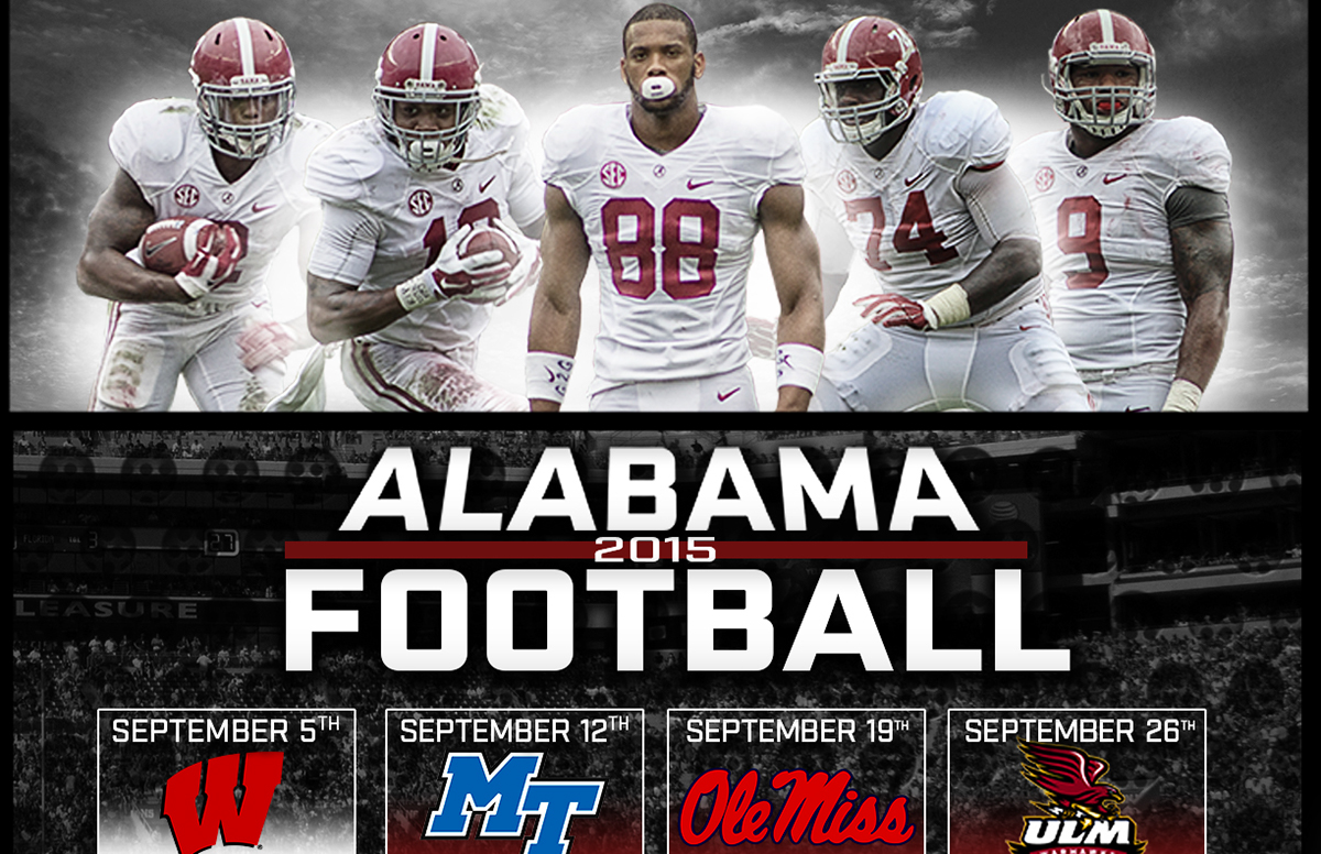 alabama football 2015: schedule poster on behance