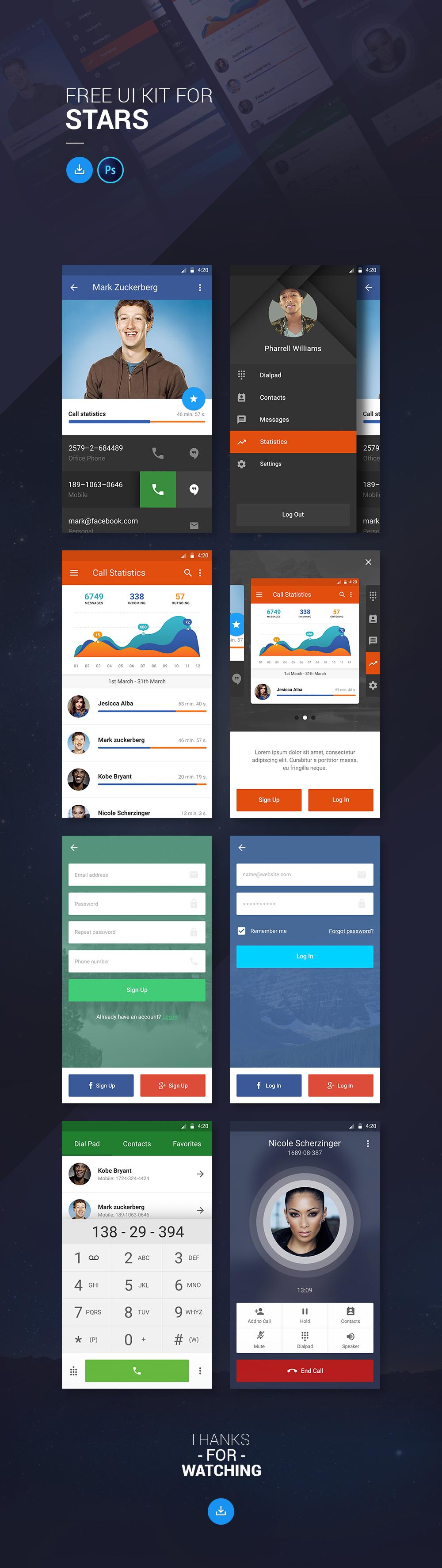 UI ux mobile freebie free app android stars