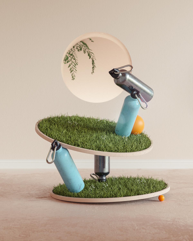 3D architecture balance colorful equilibrium Nature pastel sculpture set set design