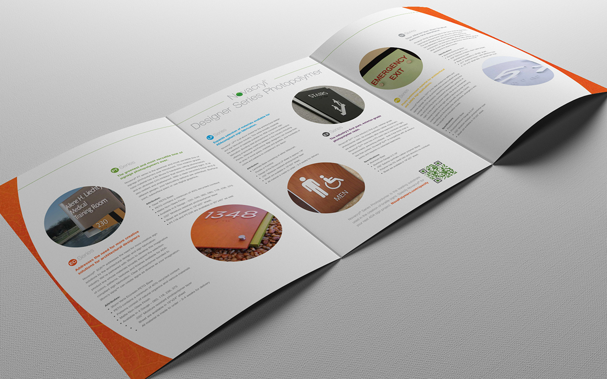 Nova Polymers marketing brochure interior page design